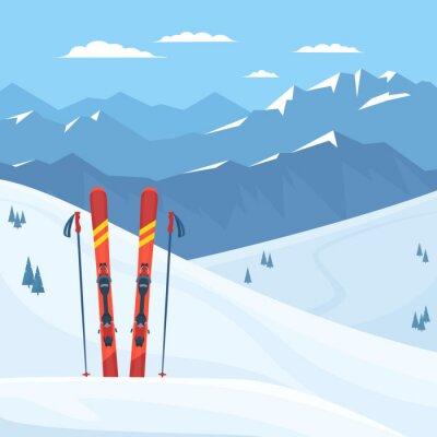 Sticker Matériel de ski rouge à la station de ski. Montagnes enneigées et les pentes, paysage d'hiver. Illustration de plat Vector