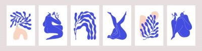 Sticker Matisse-inspired modern posters with abstract woman and branches on white background. Set of contemporary wall art. Colored flat vector illustrations of vertical artworks with people and leaves