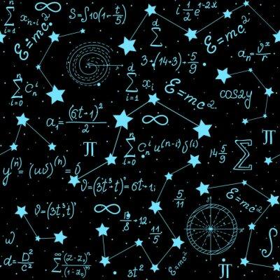 Sticker Matrice mathématique astrophysique sans motif avec des formules, des figures et des calculs manuscrits sur le fond des étoiles. L'espace scientifique espace sans fin