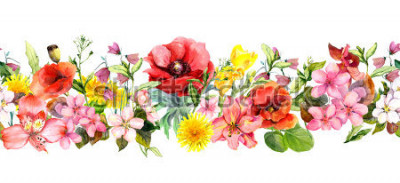 Sticker Meadow flowers, wild grasses, leaves. Repeating summer horizontal border. Floral watercolor