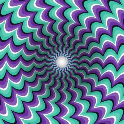 Sticker Méandres bandes entonnoir. Trou rotatif. Motley fond mouvant. Illustration d'illusion optique.
