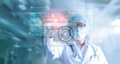 Sticker Médecin, chirurgien analysant le résultat du test du cerveau patient et l'anatomie humaine sur l'interface de l'ordinateur virtuel futuriste numérique technologique, holographique numérique, innovant