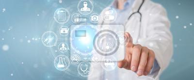 Sticker Médecin utilisant l'interface 3D futuriste de l'interface médicale numérique