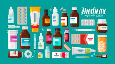 Sticker Médecine, pharmacie, ensemble hospitalier de médicaments avec des étiquettes. Médicament, concept pharmaceutique. Illustration vectorielle