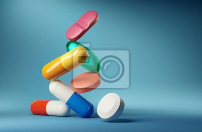 Sticker Medical balancing act. A group of medicine pills and antibiotics balancing on top of each other. 3D render illustration.