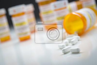 Sticker Médicament, bouteilles, derrière, pilules, déversement, tombé, bouteille