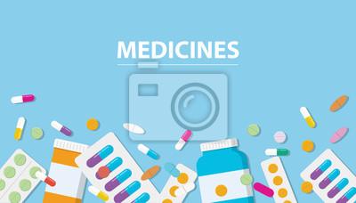 Sticker médicaments collection de drogue avec espace libre de bannière avec fond bleu