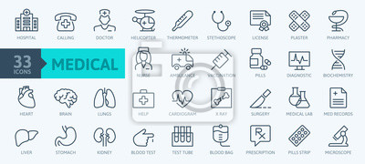 Sticker Medicine and Health symbols - minimal thin line web icon set. Outline icons collection. Simple vector illustration.