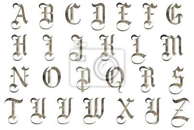 Sticker medieval gothic alphabet collection
