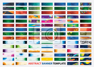 Sticker Mega collection of 105 colorful banner template. Abstract web banner design.  Header, landing page web design elements.