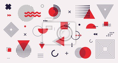 Sticker Memphis design elements mega set. Vector abstract geometric line graphic shapes, modern hipster circle triangle template colorful illustration