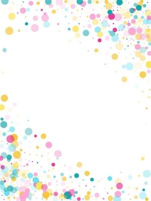 Sticker Memphis rond fond festif de confettis en bleu, rose et jaune cyan. Modèle enfantin.