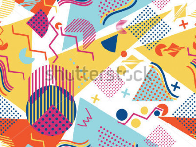 Sticker Memphis seamless pattern. Geometric elements memphis in the style of 80's. Vector illustration.
