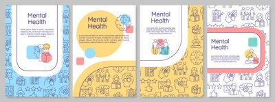 Sticker Mental health brochure template. Psychological wellness. Psychiatry flyer, booklet, leaflet print, cover design with linear icons. Vector layouts for magazines, annual reports, advertising posters