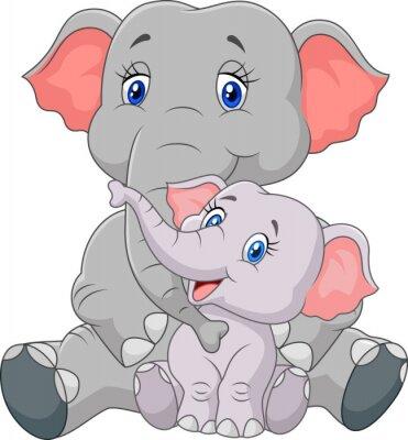 Sticker Mère et le bébé éléphant de bande dessinée séance isolé sur fond blanc