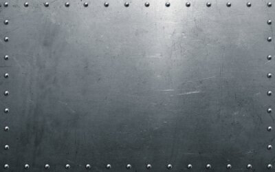 Sticker Metal background with rivets, polished steel texture