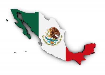 Sticker Mexique Carte de drapeau