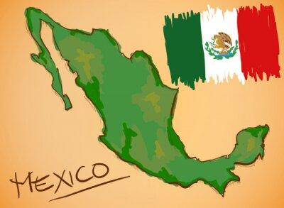 Sticker Mexique Carte et drapeau national Vecteur