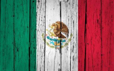 Sticker Mexique Drapeau Grunge Background
