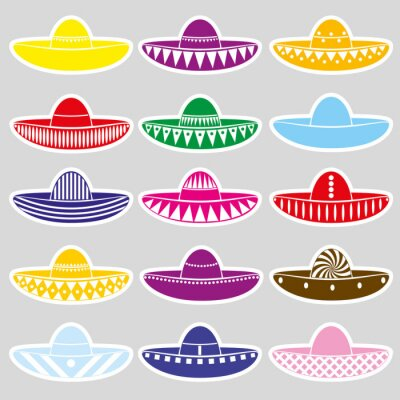 Sticker Mexique sombrero hat variations stickers set eps10