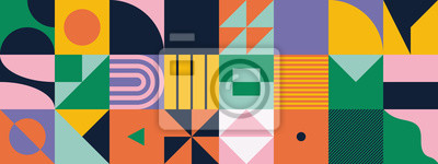 Sticker Mid-Century Abstract Vector Pattern