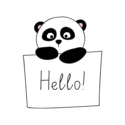 Sticker Mignon, bande dessinée, panda, isolé, blanc