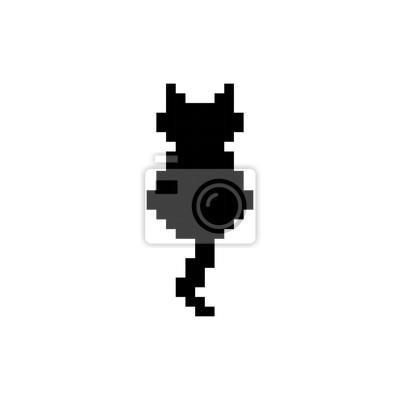 Sticker Mignon Chaton Animal Domestique Silhouette Pixel Art Vecteur