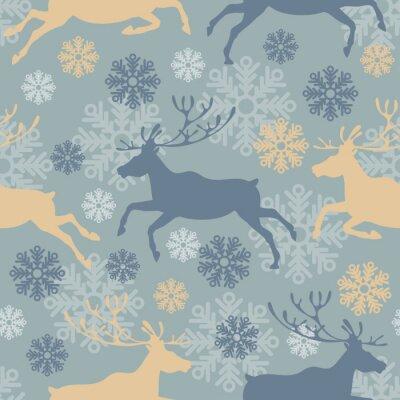 Sticker Mignon, joyeux, noël, seamless, modèle, rennes, flocons neige Vintage illustration vectorielle.