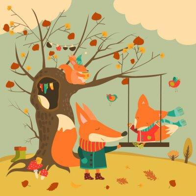 Sticker Mignon, renards, tour, balançoire, automne, forêt