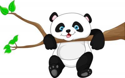 Sticker Mignon, rigolote, bébé, panda, pendre, arbre