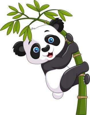 Sticker Mignon, rigolote, bébé, panda, pendre, bambou, arbre