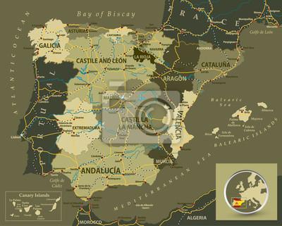 Militaire carte de la couleur de l'Espagne