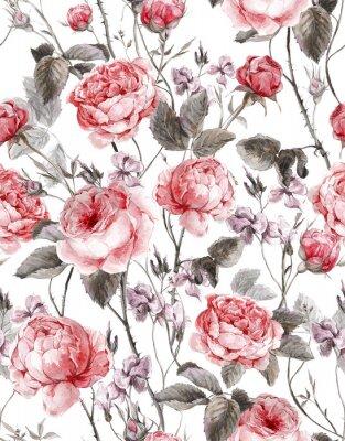 Sticker Millésime classique seamless floral, aquarelle bouquet de