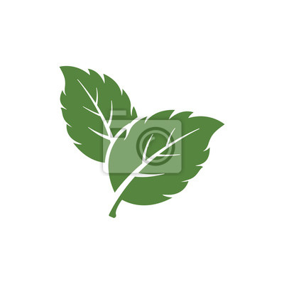 Sticker mint leaf element vector icon. green mint leaves vector symbol