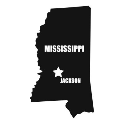 Mississippi map in black on a white background