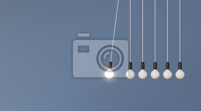 Sticker Mock up of hanging light bulbs with one glowing on blue wall background,Conceptual idea of pendulum,Outstanding. 3D rendering