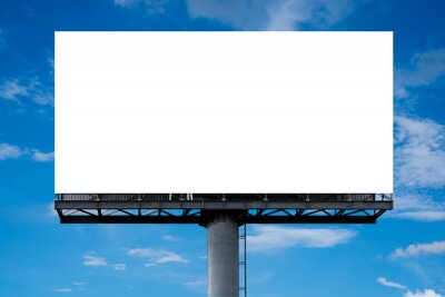 Sticker Mockup Large white blank billboard or white promotion poster displayed on the outdoor against the blue sky background. Promotion information for marketing announcements and details