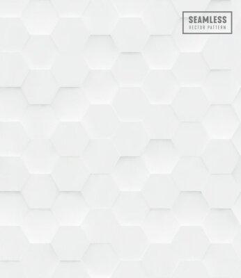 Sticker Modèle 3D polygone vectorielle continue hexagone, fond blanc business géométrique