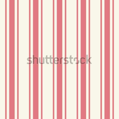 Sticker Modèle à fines rayures de couleur rose pâle uni et tilé dans un style artistique simple et classique pourpre sur fond beige. Répétition de bandes audacieuses bigarrées modernes. Vue détaillée en gros
