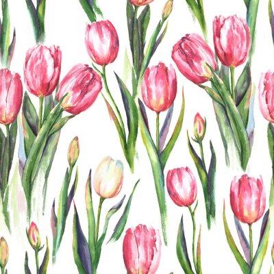 Sticker Modèle à l'eau-de-vie dessiné à la main avec des fleurs de tulipes roses et blanches. Impression répétée du printemps pour le textile, papier peint. Tendre et beau fond