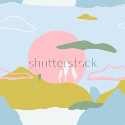 Sticker Modèle abstrait avec coucher de soleil sur les montagnes. Texture transparente de nature contemporaine artistique. Les idées de conception prêtes à utiliser pour les affiches, les cartes dernier cri,