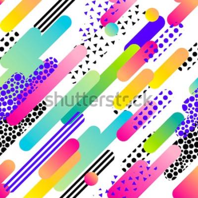 Sticker Modèle abstrait vectorielle continue pour les filles, les garçons, les vêtements. Fond créatif avec des points, des figures géométriques Papier peint drôle pour le textile et le tissu. Style de mode.