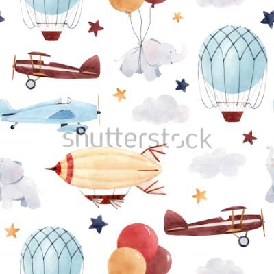 Sticker Modèle aquarelle d'enfants mignons. Fond d'écran pour un garçon, un ciel étoilé avec un aérostat, un dirigeable et des avions, des éléphants et des ballons.