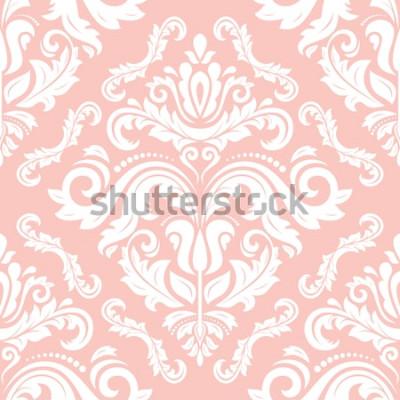 Sticker Modèle classique de vecteur oriental. Abstrait sans soudure avec des éléments récurrents. Motif rose et blanc