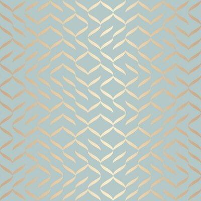Sticker Modèle d'élément doré géométrique vectorielle continue. Texture de cuivre abstrait sur bleu vert. Impression graphique minimaliste simple. Grille de treillis turquoise moderne. Design de papier d'emba