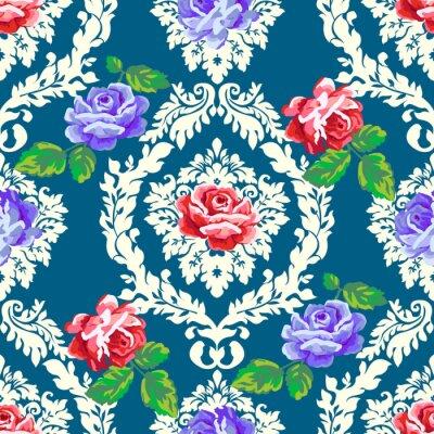 Sticker Modèle damassé rose chic chic. Vecteur, seamless, vendange, floral, fond