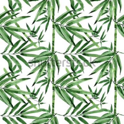 Sticker Modèle de bambou arbre feuilles tropicales dans un style Aquarelle. Aquarelle feuilles sauvages pour le fond, la texture, le motif enveloppant, le cadre ou la bordure.