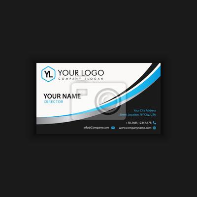 Sticker Modle De Carte Visite Moderne Crative Et Propre Avec La Couleur Fonce Bleue