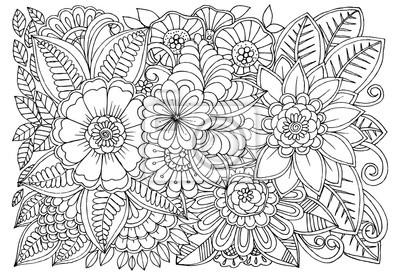 Sticker Modèle De Fleur Noir Et Blanc Pour Livre De Coloriage Adulte