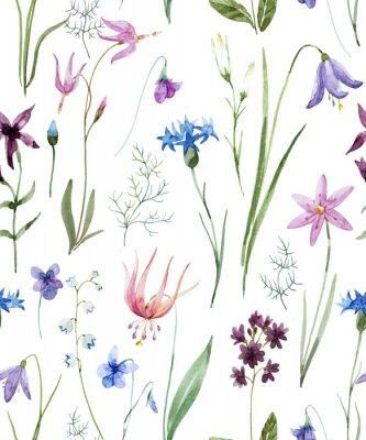 Sticker Modèle de fleurs sauvages aquarelle